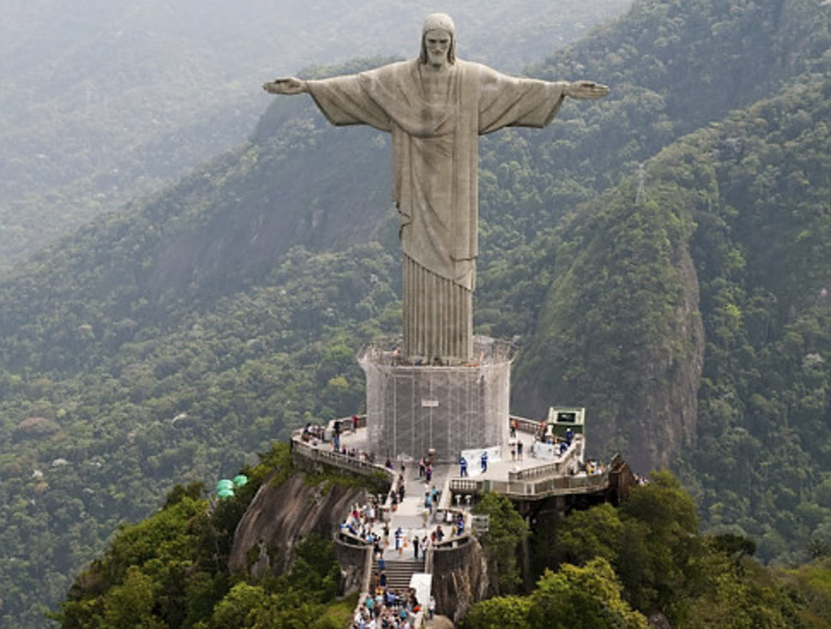 Statue of Jesus Christ in Rio De Janerio, Brazil. An Idol of The false Messiah Jesus Christ whom they also call God.
