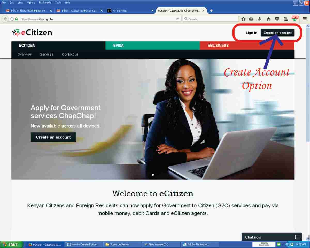 Creating an eCitizen Acount