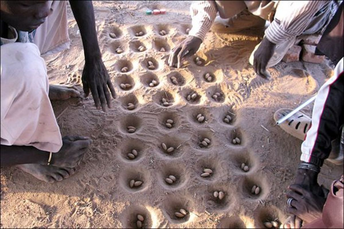 Some Mancala games were played by digging holes in the ground.