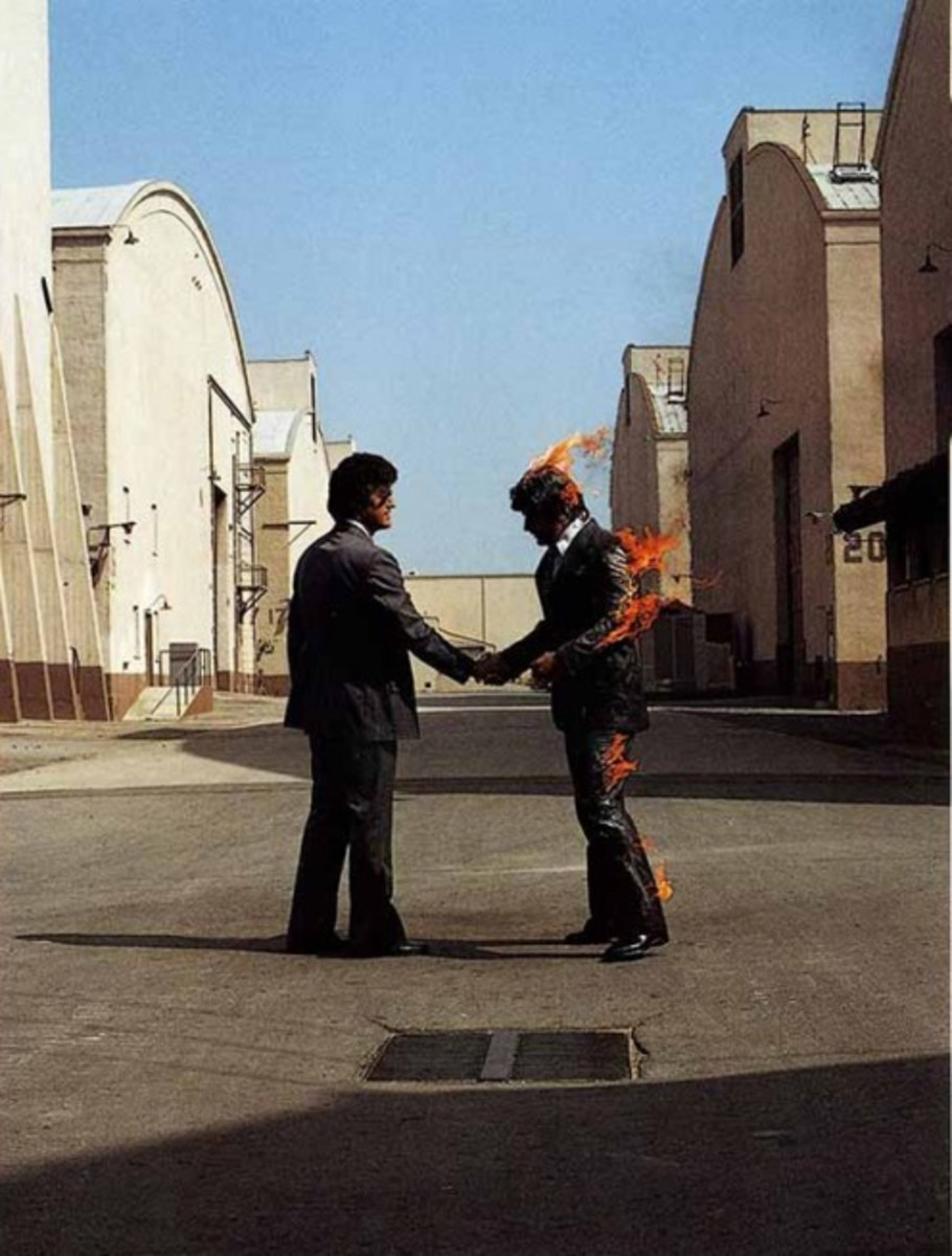 "The cover for Pink Floyd's album ""Wish You Were Here""."
