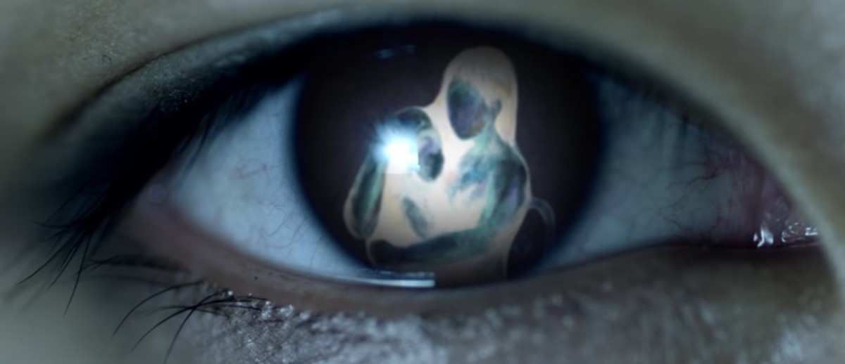 The picture of Eva in V's eye at 1:44.