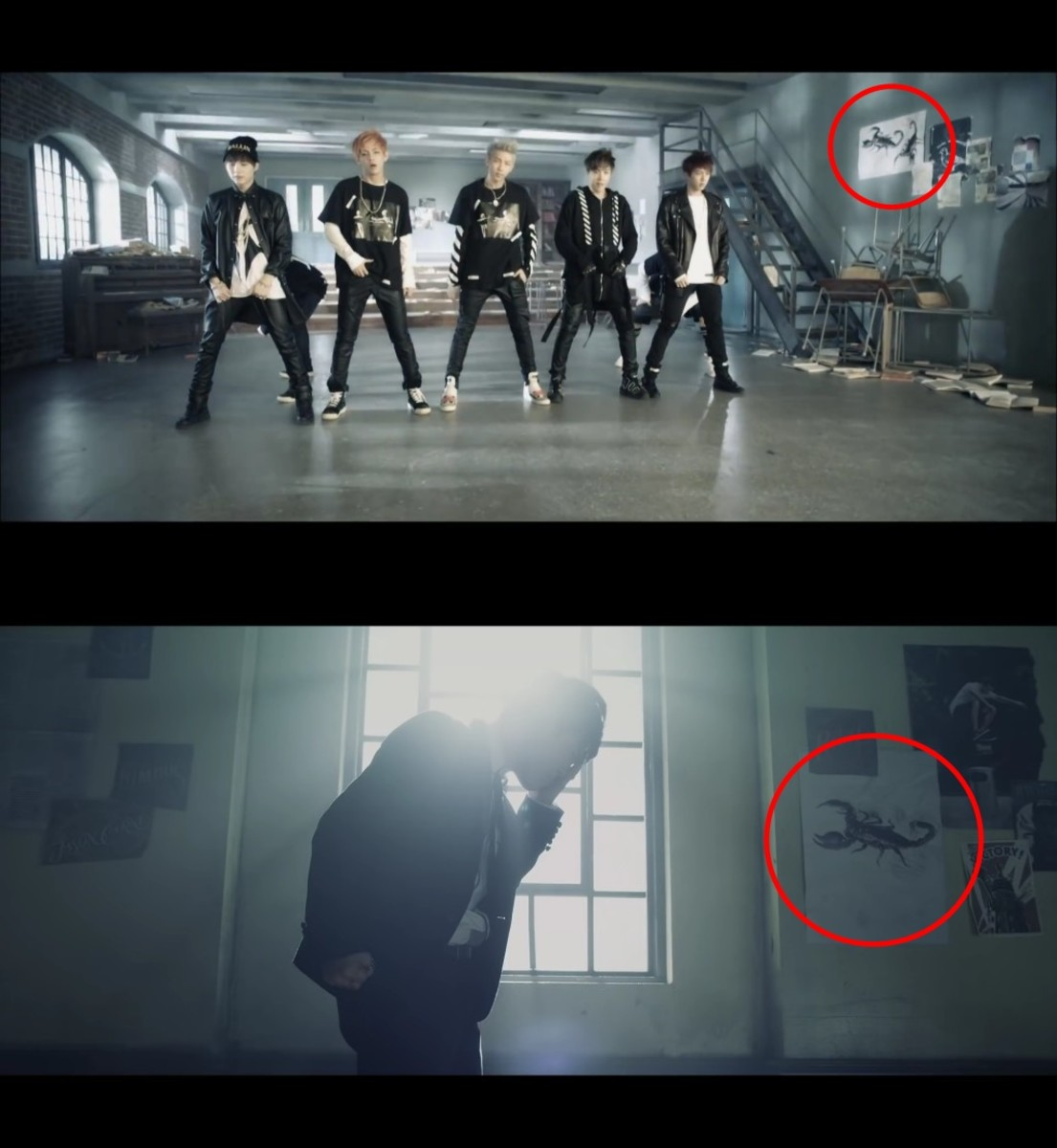 "Drawing of the Scorpion in ""No More Dream"" Japanese version and ""Boy In Luv"" Japanese version."