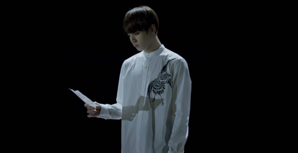 The sparrow hawk on Jungkook's shirt.