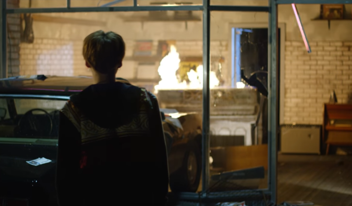 The piano starts burning after the car crash.