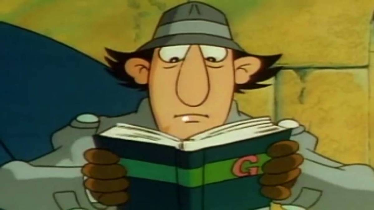 Inspector Gadget seen in this photo is reading his rule book after arriving in his next destination.