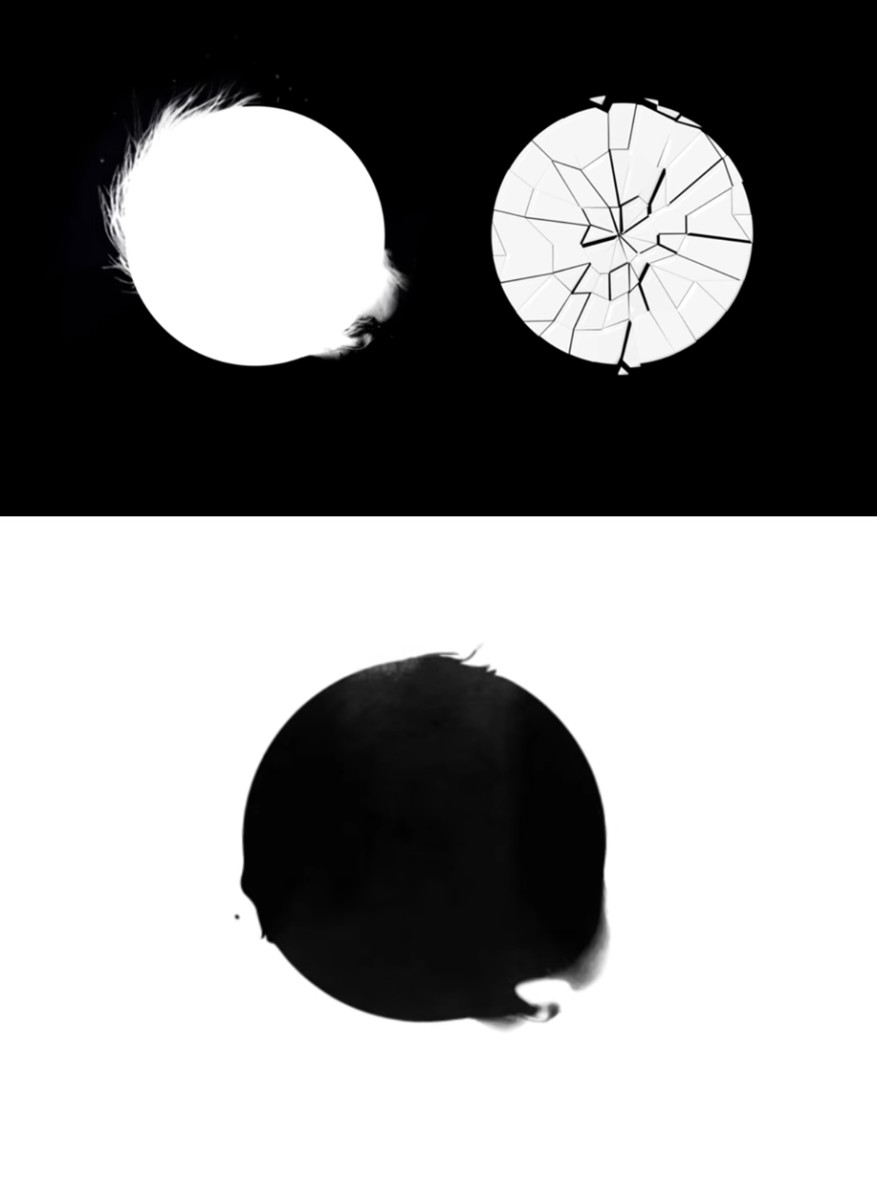 Rapmon's circle sign: shattered glass and the combined sign: black ink.