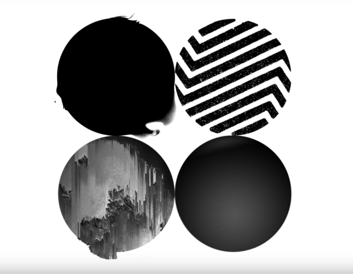 The four circle signs with Jin's combined sign: a black sphere.