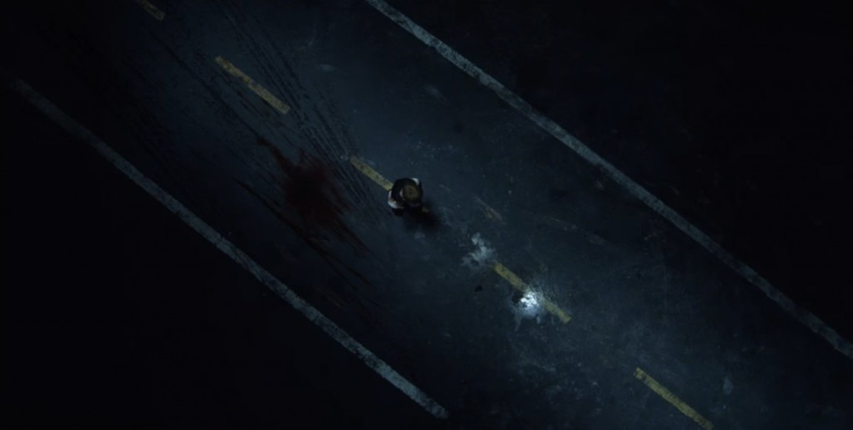 Blood on the street after the car passed Suga at 1:51.