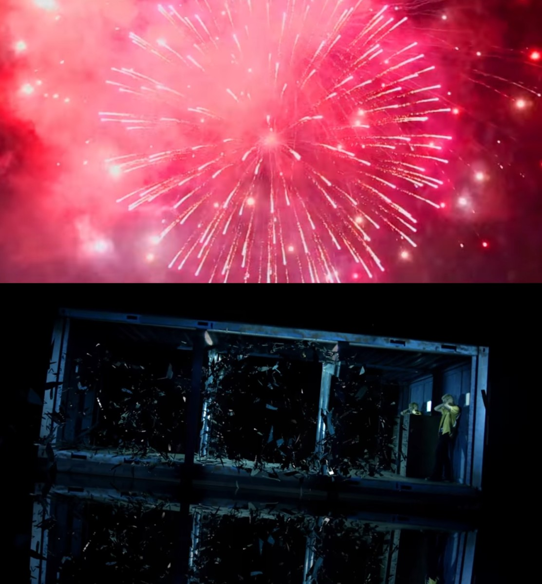 The firework and shattered mirrors.