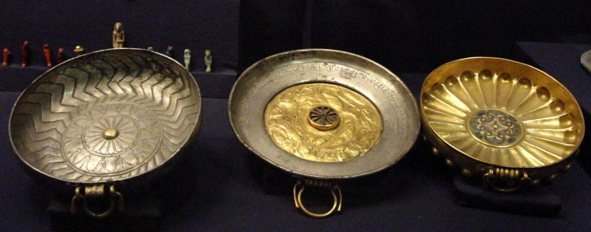 Funerary cups, made from gold, silver and electrum, for General Undjebundjed who was buried in the tomb of his king Psusennes I