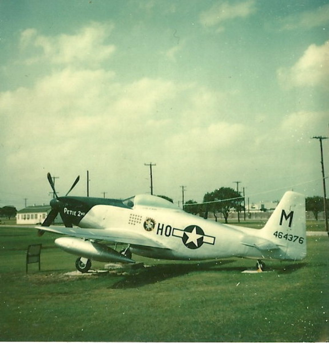 A P-51 at Lackland AFB, TX painted as then Colonel John C. Meyer's Mustang, circa 1972.