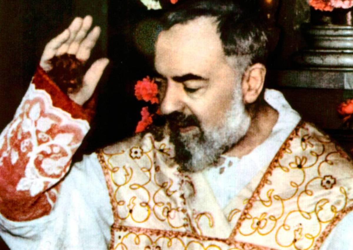 Padre Pio and his stigmata.