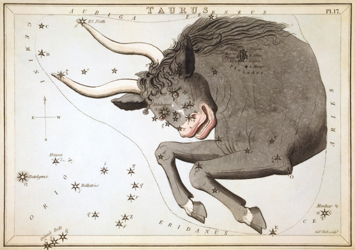 Taurus the bull and the Pleiades. This constellation is also connected to Apis, the bull form of Osiris
