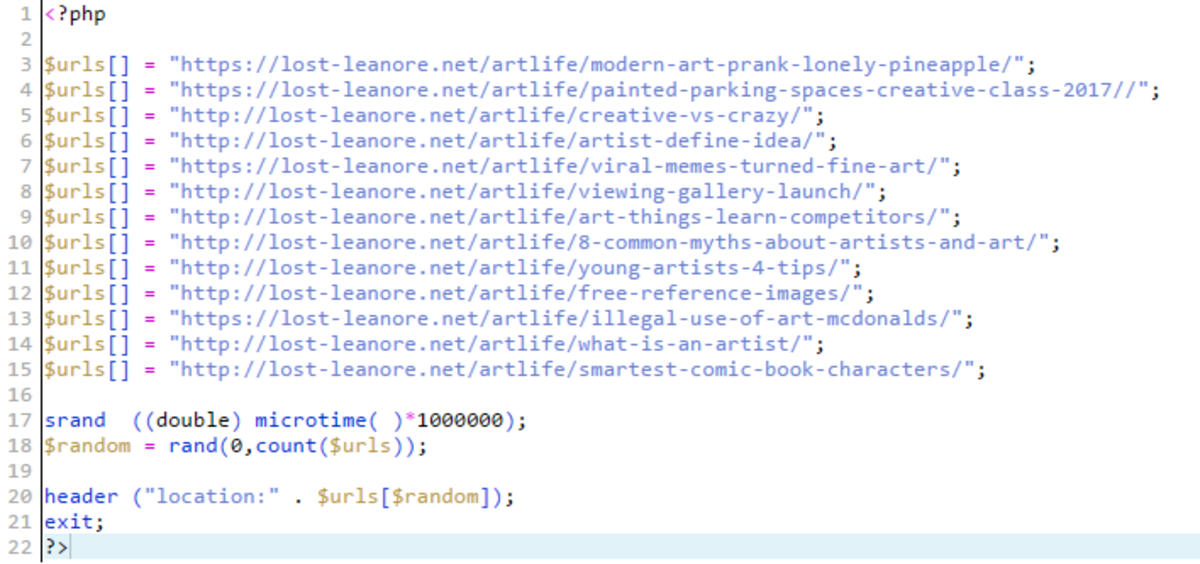 An Example of what an index.php page for a rotator looks like.
