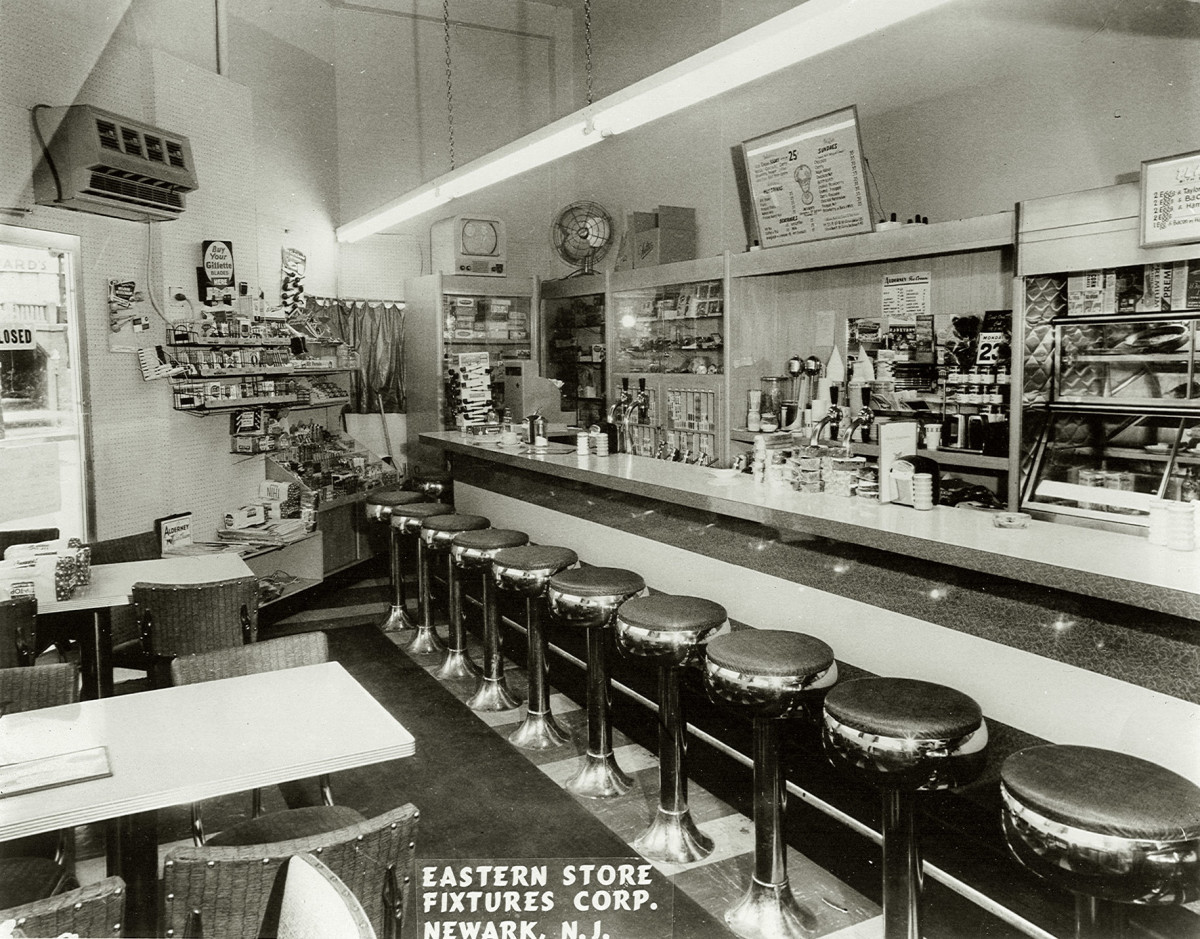 a real luncheonette counter from the 1950s