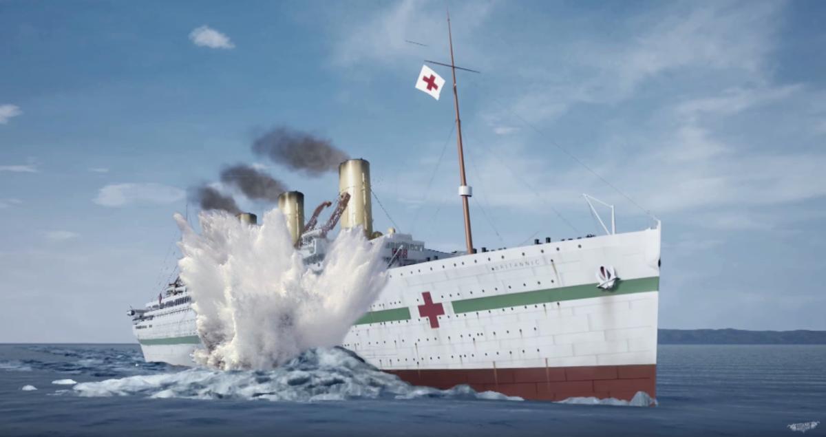 Britannic strikes the mine.
