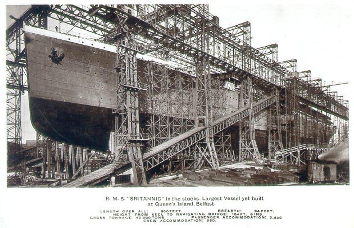 RMS Britannic under construction.