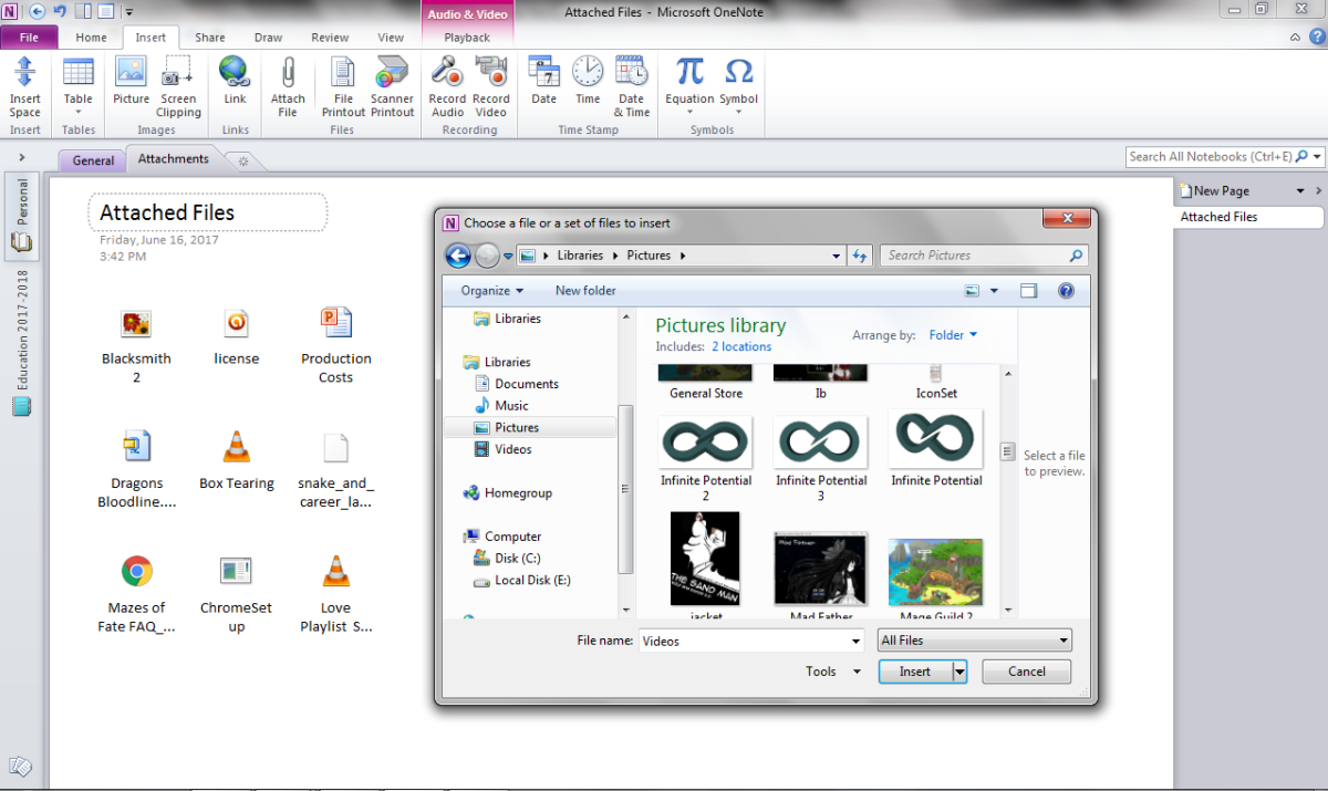 Attaching Files in OneNote