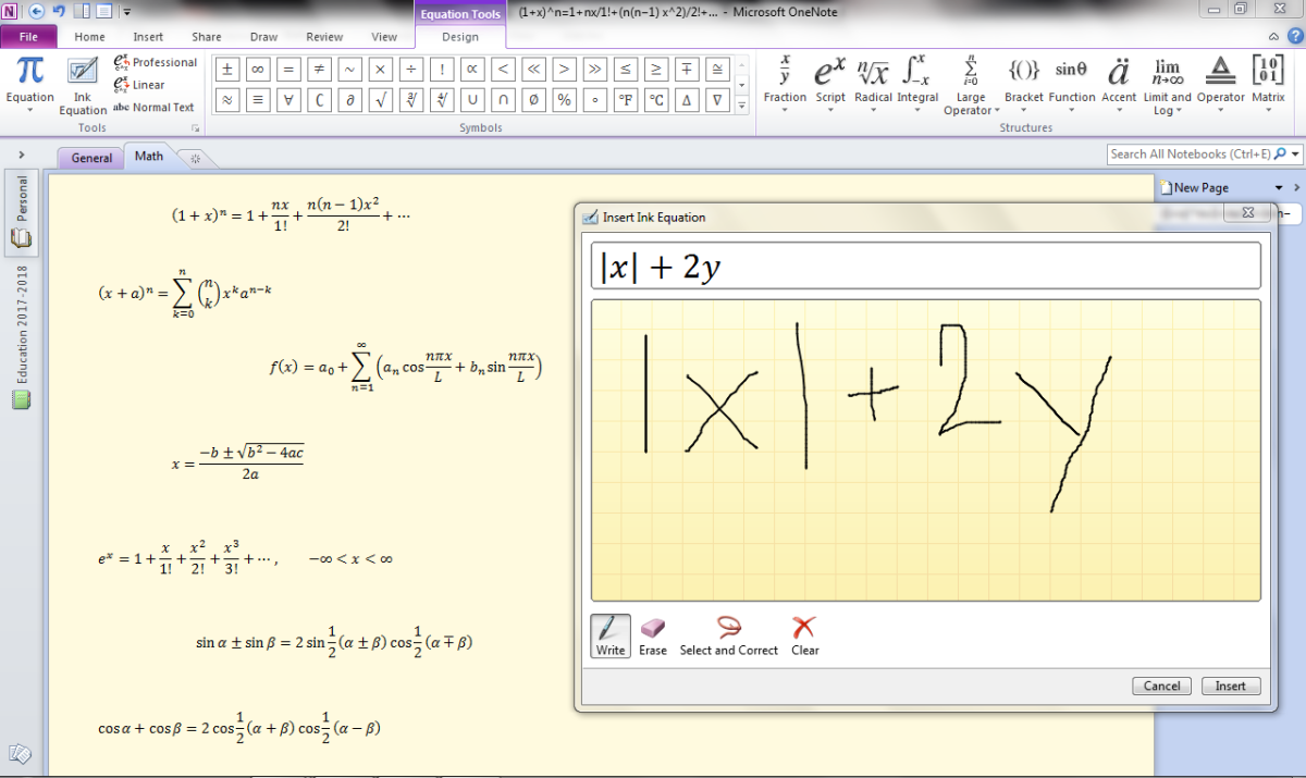 Adding an Equation in OneNote