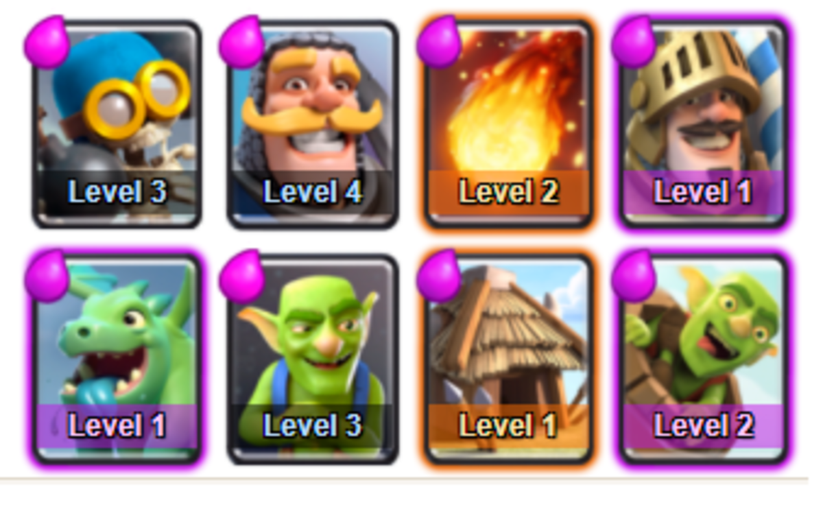 This deck will give the best balance of attack and defense for Arena 1 - Goblin Stadium and will get you quickly to Arena 2 - Bone Pit!