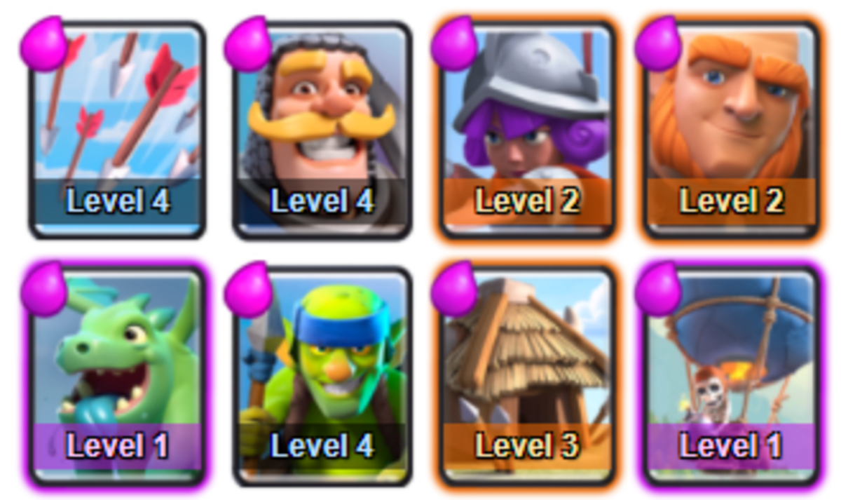 This deck is similar to the Arena 1 - Goblin Stadium deck and will power through Arena 2 - Bone Pit to get you to the Arena 3 - Barbarian Bowl!
