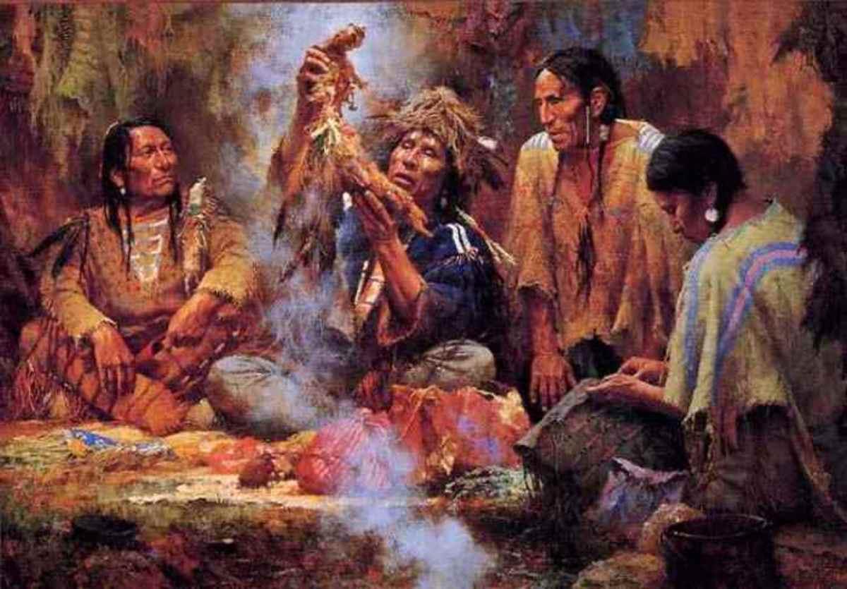 "This is an oil painting by Howard Terpning called ""Opening the Sacred Bundle."" Each bundle contains a collection of objects that have spiritual significance."
