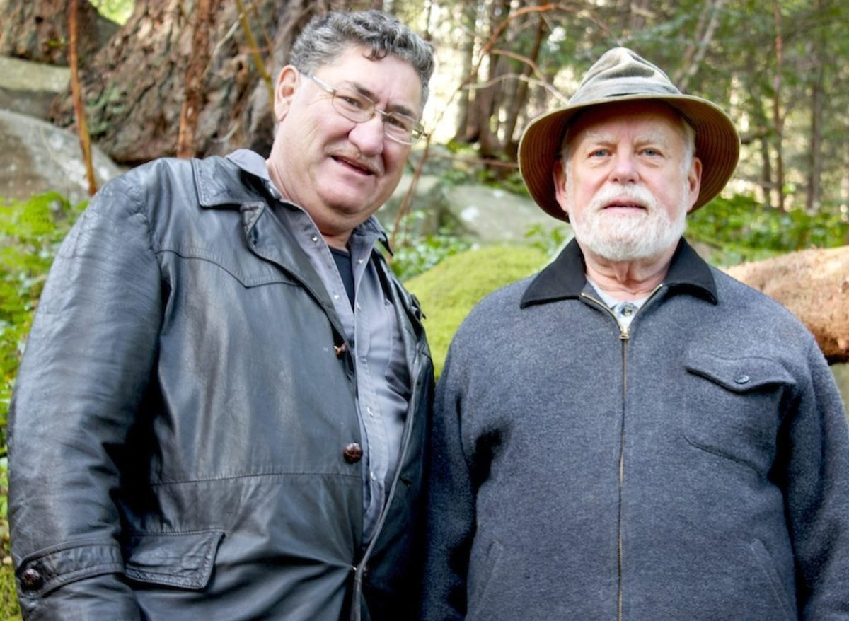 "Russell Willier (left) and David Young, two of the co-authors of the book ""A Cree Healer and His Medicine Bundle"" photographed on the small island of Gabriola in Canada. Willier is a healer who lives on the Sucker Creek Reserve, also in Canada."