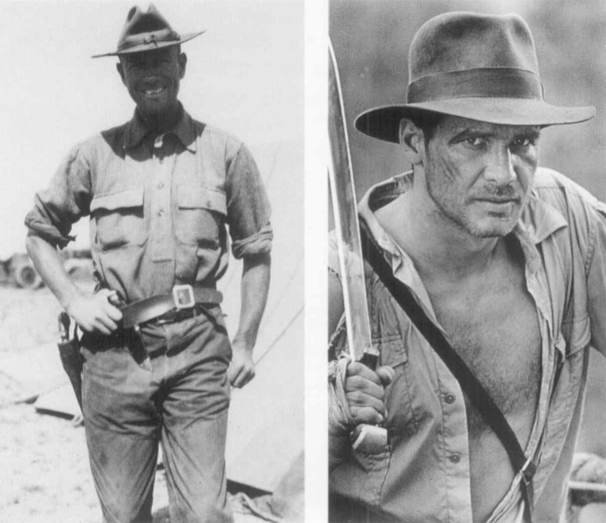 Roy Chapman Andrews on left and Indiana Jones on right.