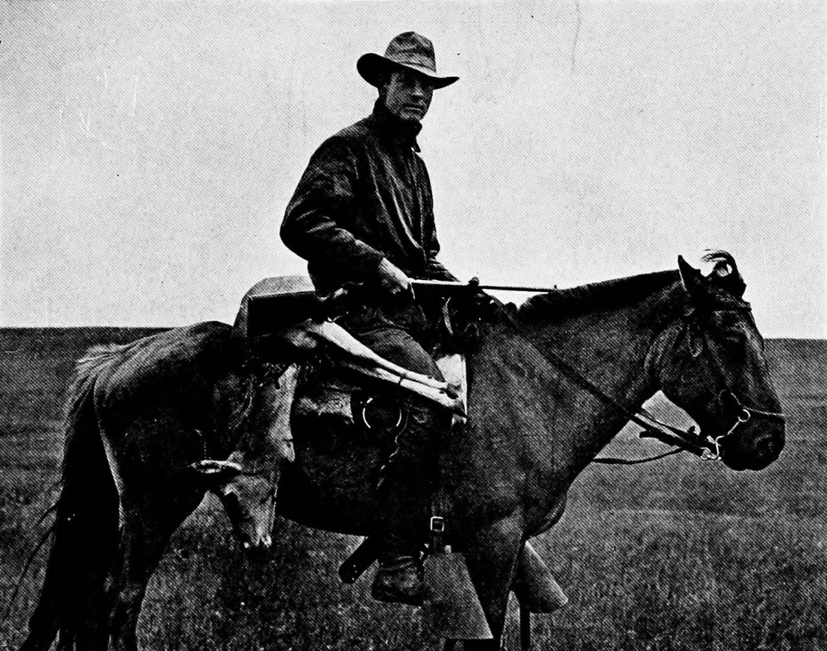 Roy Chapman Andrews on his horse in the Gobi desert