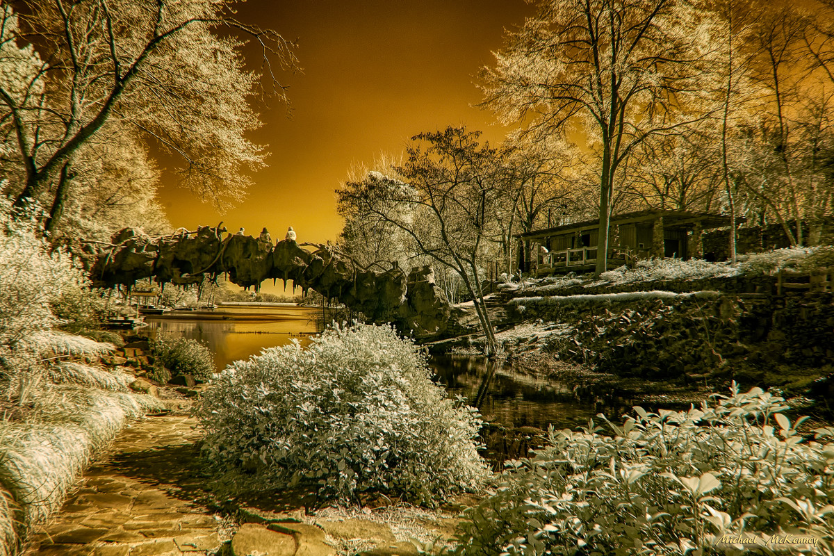 Another view of the bridge over the water at the Old Mill in North Little Rock, Arkansas.