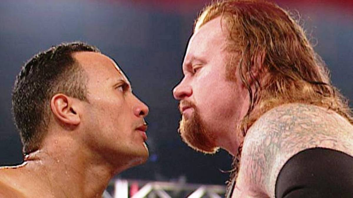 A stare-down between The Rock and The Undertaker.