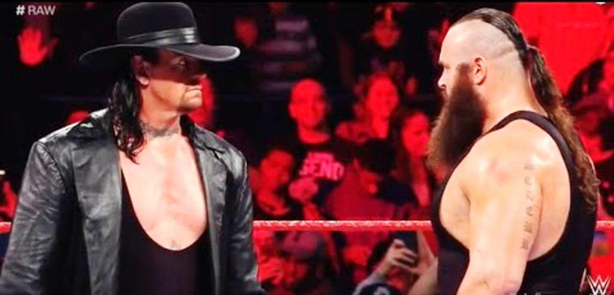 A stare-down between The Phenom and Braun Strowman on WWE RAW.