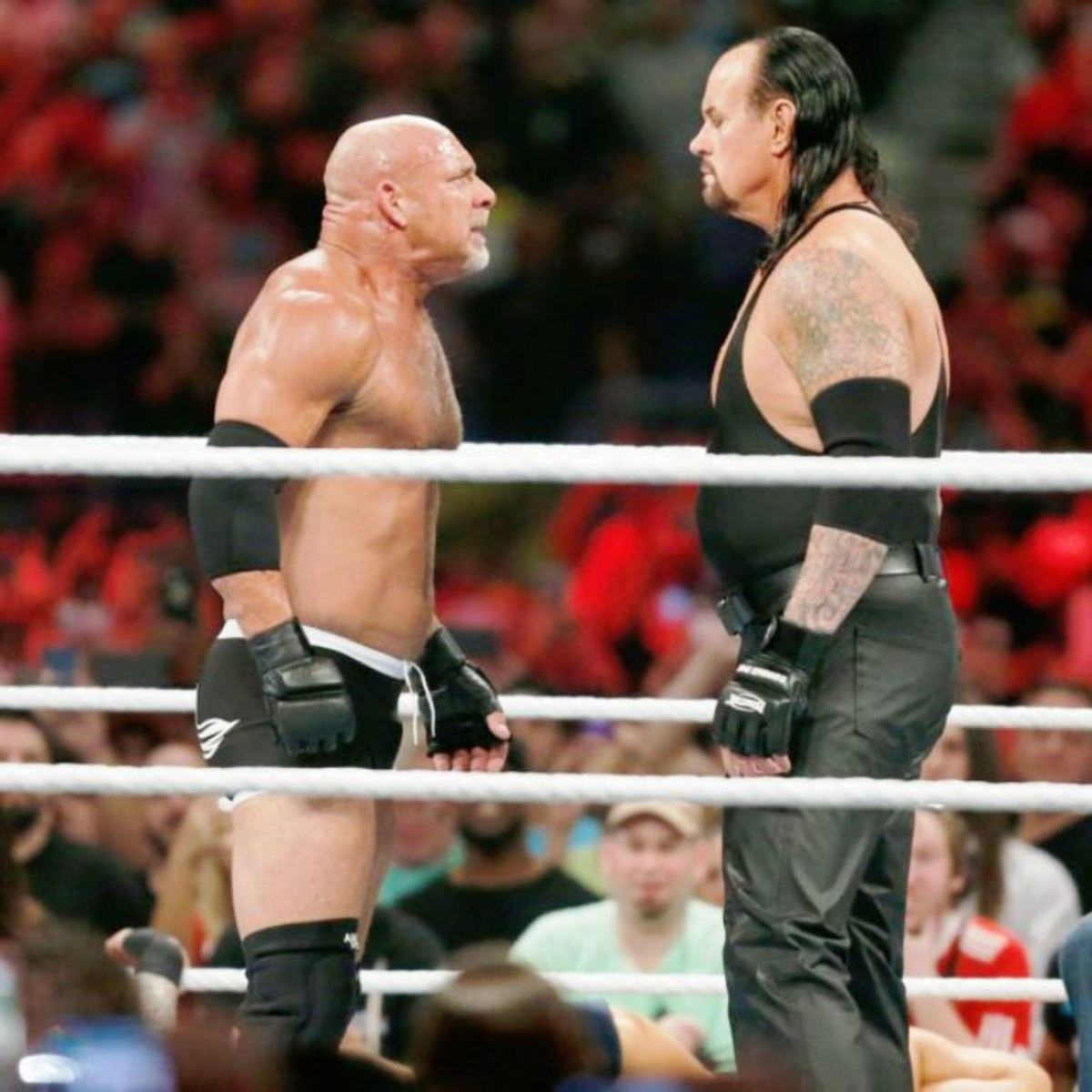 A stare-down between Goldberg and The Undertaker at the Royal Rumble (2017).