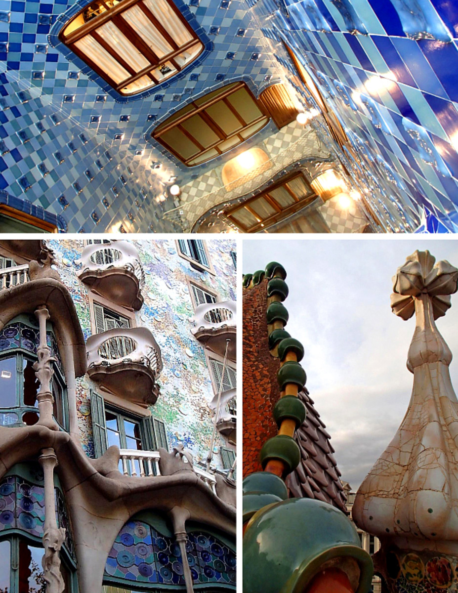 Architectural details of Gaudi's Casa Batllo: blue ceramic tiles on the interior walls, sculptures on rooftop, stone works on building facade.