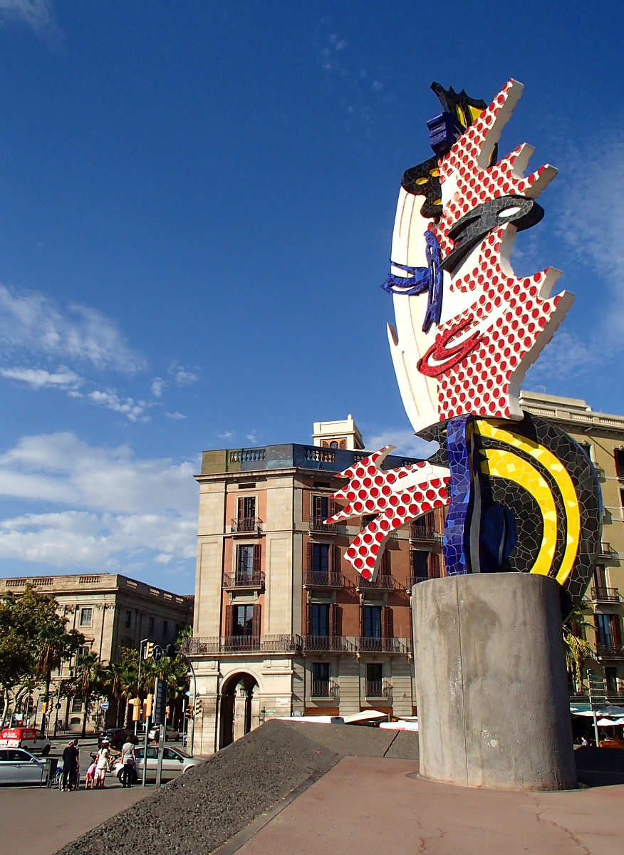El Cap de Barcelona sculpture designed by American artist Roy Lichtenstein for the 1992 Summer Olympics.
