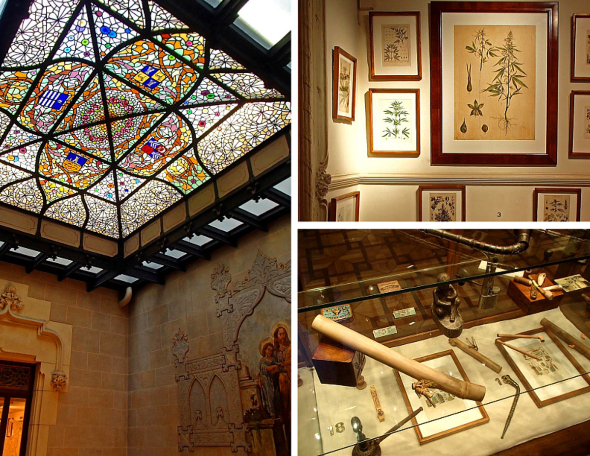 Hemp Museum Barcelona: stained-glass ceiling, artworks and artifacts on display.