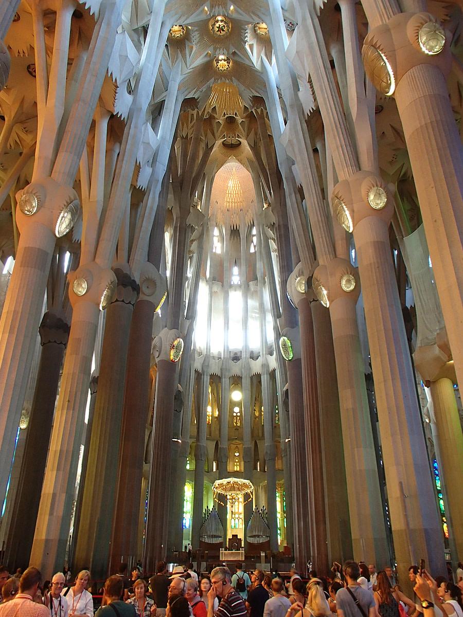 Magnificent interior of the Sagrada Familia.