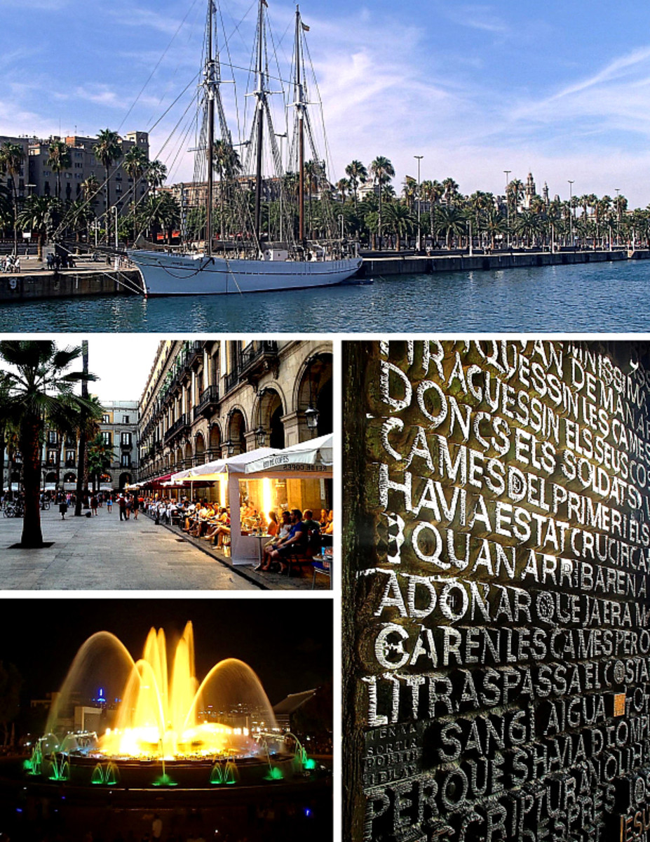 Clockwise from top: Old Port waterfront; stone scriptures at the Sagrada Familia; Magic Fountain; Placa Reial in Gothic Quarter.