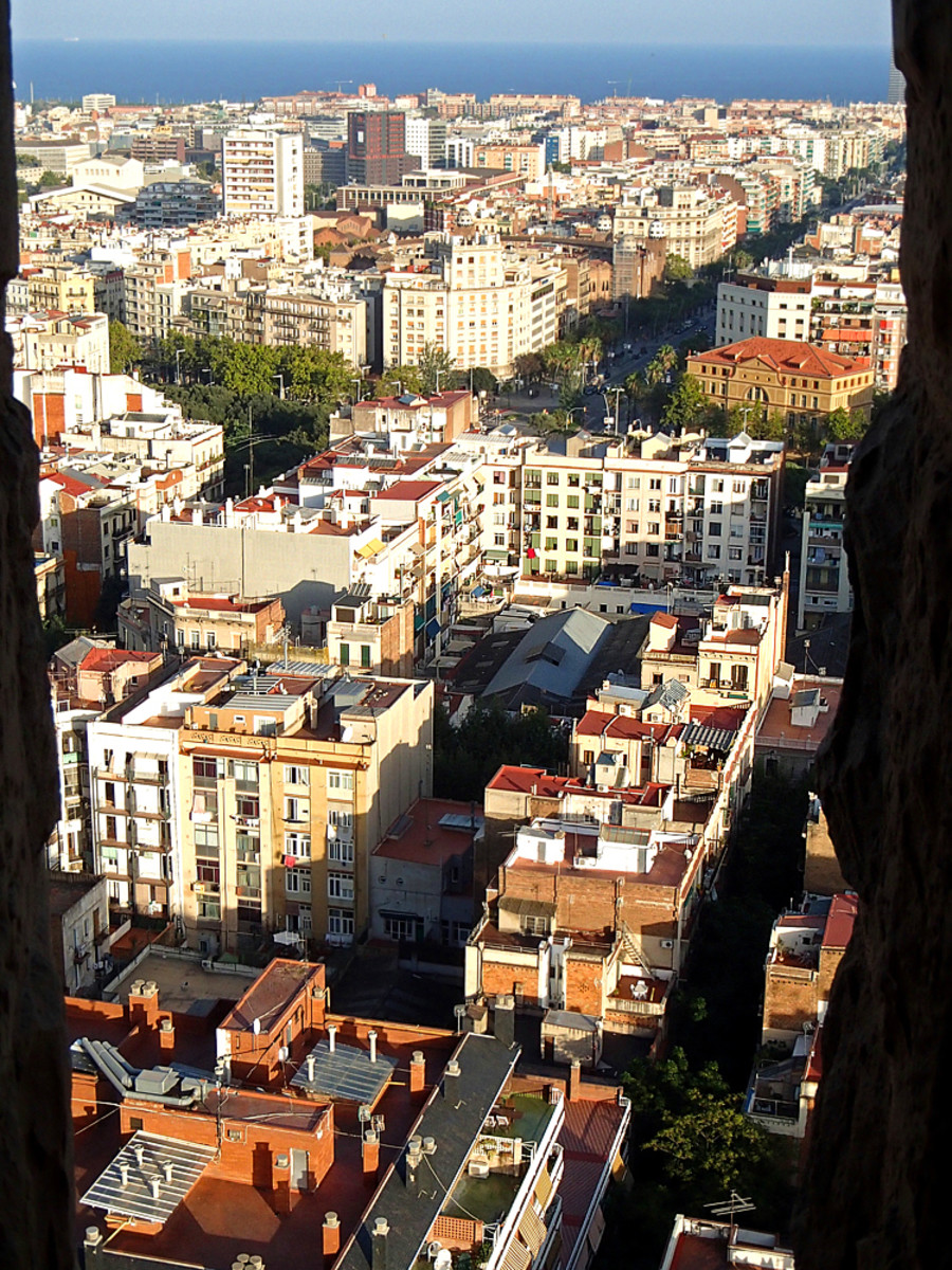 Birds-eye view of Barcelona from one of the towers of the Sagrada Familia.