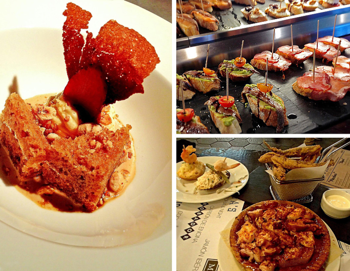 Clockwise from left: Haute cuisine chocolate dessert; pinchos selection; small plates of tapas.