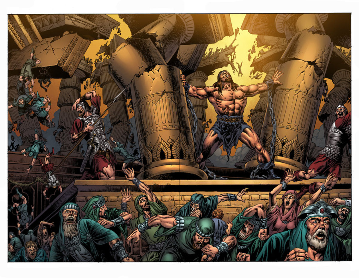 Samson prayed to God to return his strength to him, then pushed down the central pillars of the temple, collapsing it on his enemies.