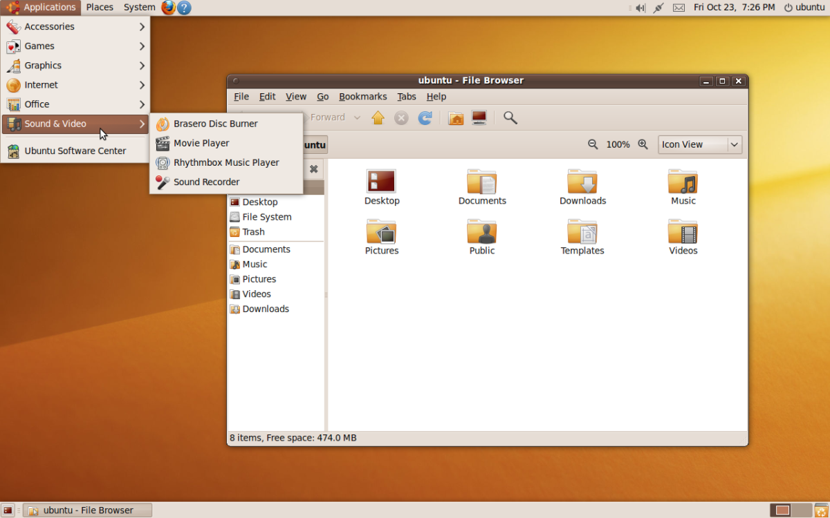 Ubuntu operating system desktop