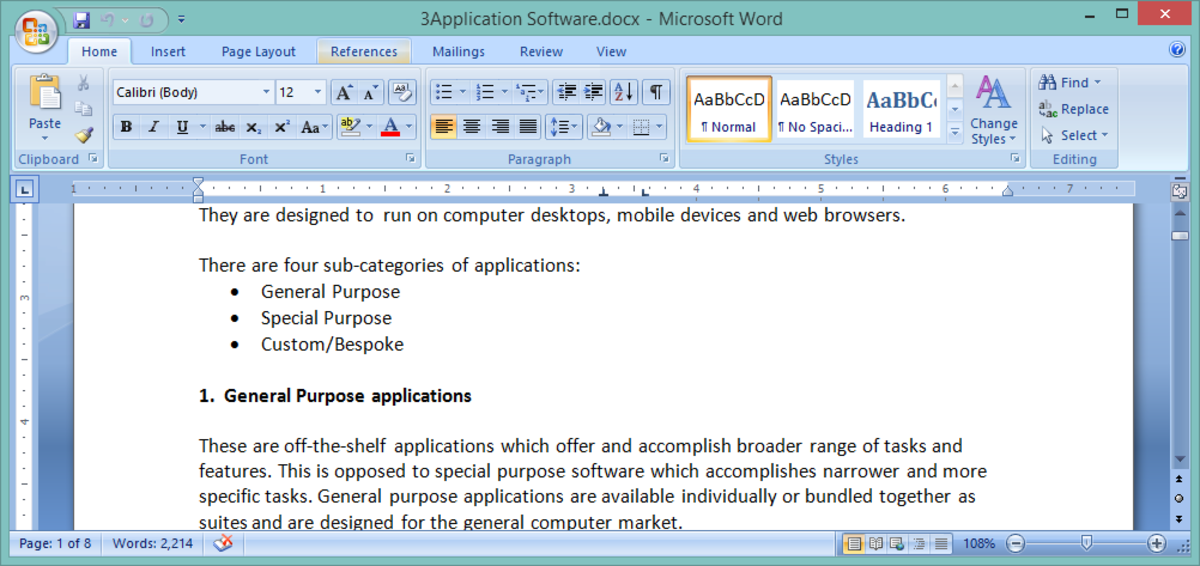 MS Word workspace