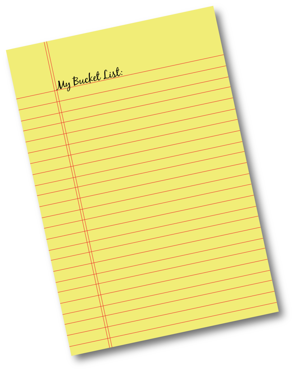 """A memo pad with the words """"My Bucket List""""."""