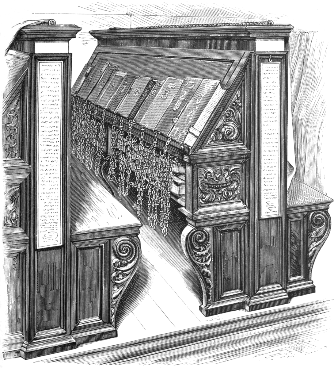 The books were chained to benches in the reading rooms of the library in the fifteenth century.
