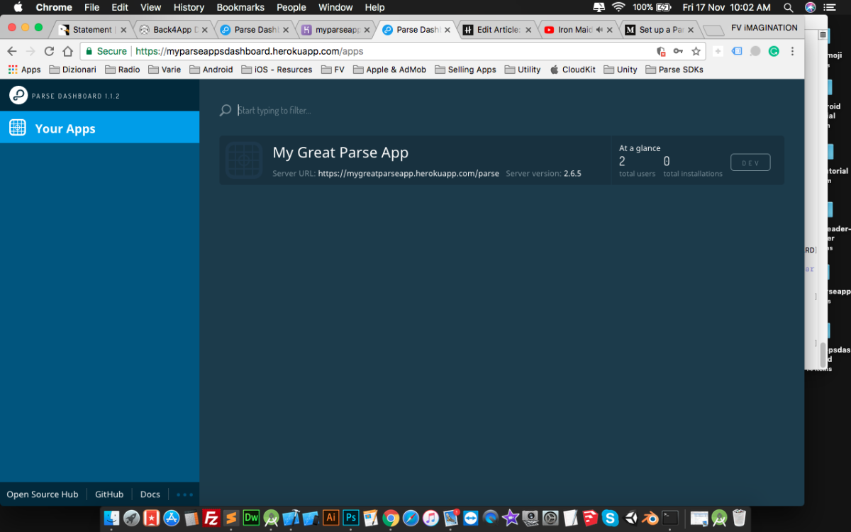 The Parse Dashboard