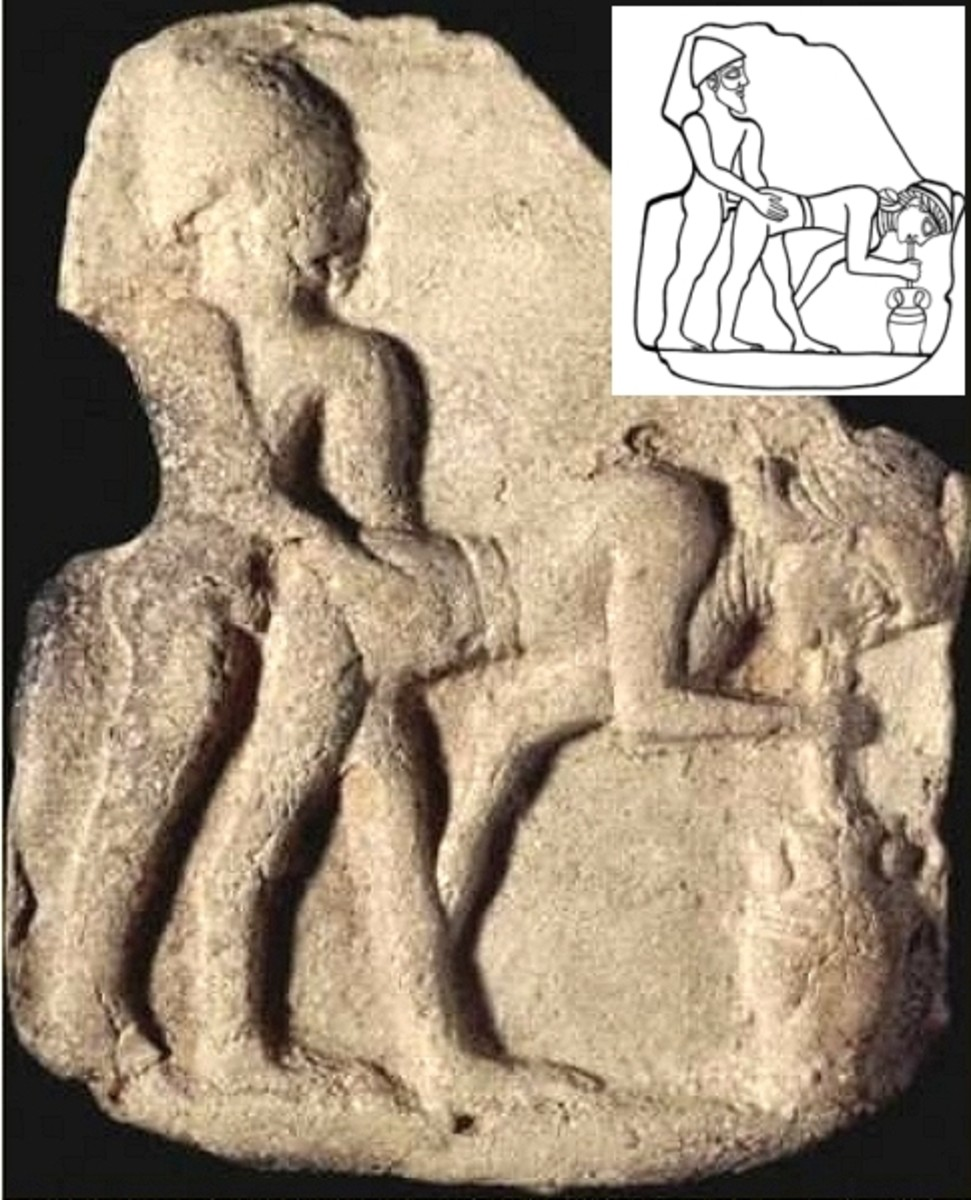 an ancient Sumerian depiction possibly of a cultic female prostitute.