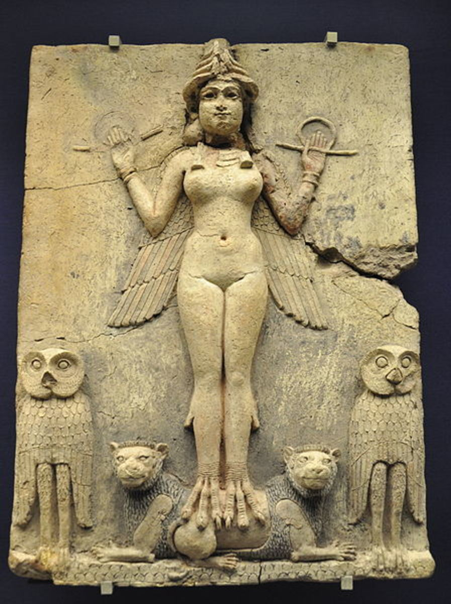 the famous Burney relief depicting Innana/Ishtar sexually