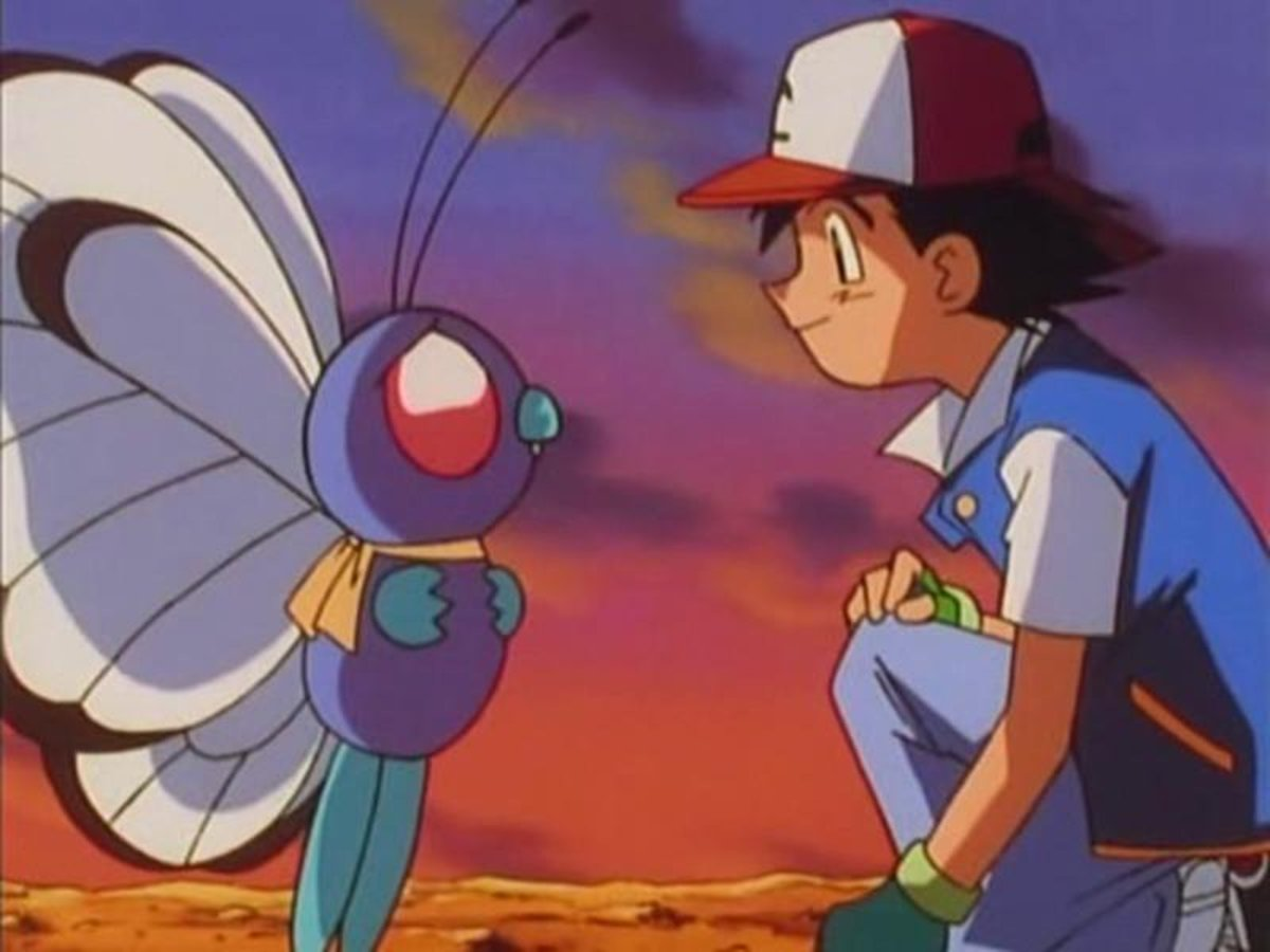 Ash says goodbye to Butterfree in the heart-tugging Pokemon episode, Bye Bye Butterfree.