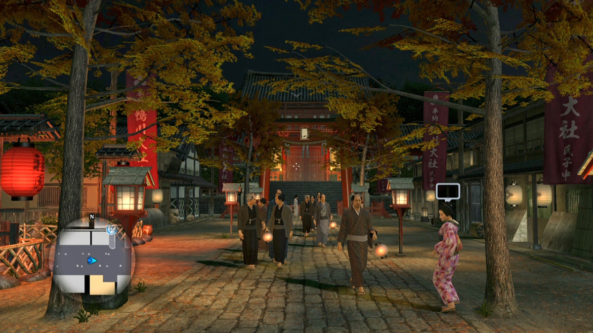 Kyoto's famous Gion District, atmospherically lit up at night.